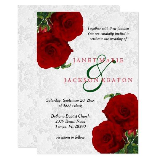 Deep Red Rose Floral Wedding Invitation