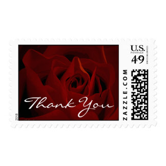 Deep Red Rose Thank You Postage