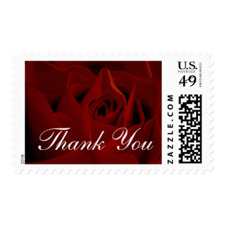 Deep Red Rose Thank You Postage Stamp