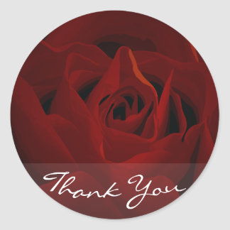 Deep Red Rose Thank You Sticker