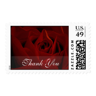 Deep Red Rose Thank You Wedding Postage