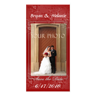 Deep Red Save the Date Wedding Photo card