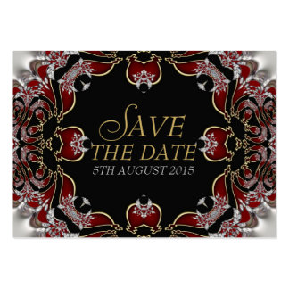 Deep Red+Silver Satin Save the Date Announcement Pack Of Chubby Business Cards
