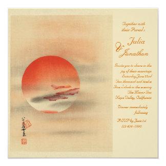 "Deep Red Sunset Romantic Wedding Invitation 5.25"" Square Invitation Card"