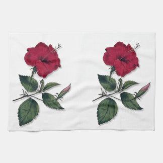 Deep Red Vintage Botanical Hibiscus Blossom Hand Towel