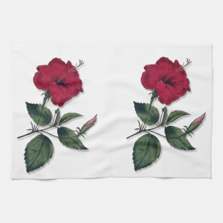 Deep Red Vintage Botanical Hibiscus Blossom Tea Towel
