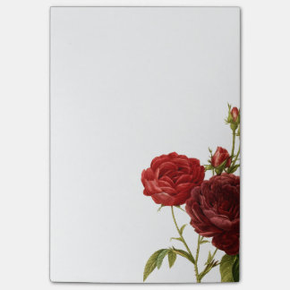 Deep red vintage roses painting post-it notes
