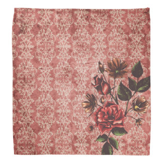 Deep Red Vintage With Flowers Bandana