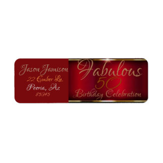 Deep Red w/Gold Edge Rectangular Label