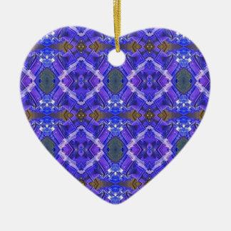 Deep Rich Purple Blue Fractal Tribal Pattern Ceramic Heart Decoration
