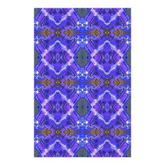 Deep Rich Purple Blue Fractal Tribal Pattern Stationery Paper