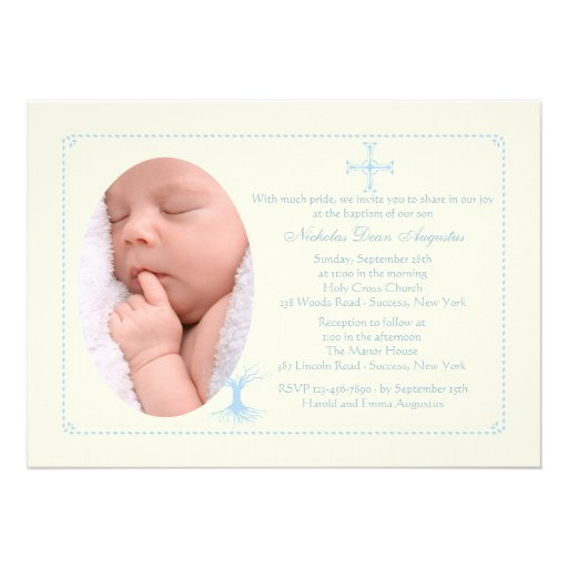 Deep Rooted Blue Baptism Photo Invitation