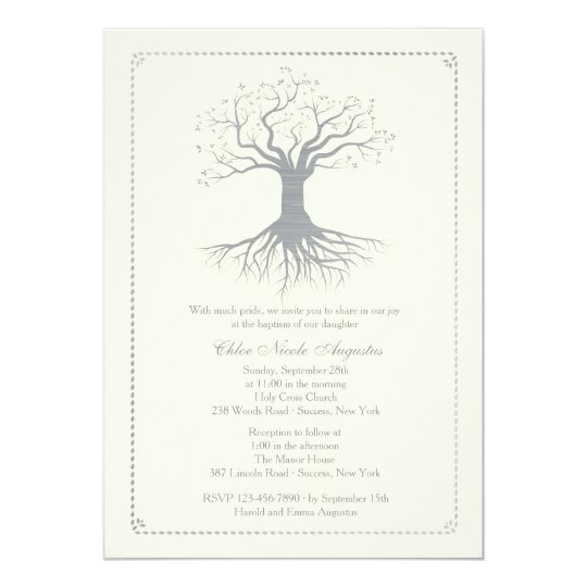Deep Rooted Silver Baptism Invitation