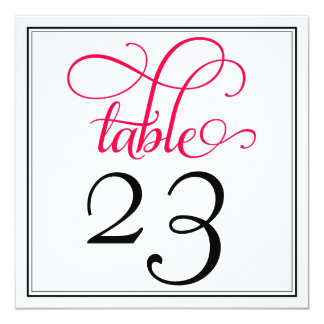 Deep Rose Pink Curly Script Table Number Card