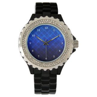 Deep Royal Blue Vintage Damask Grunge Texture Wristwatch