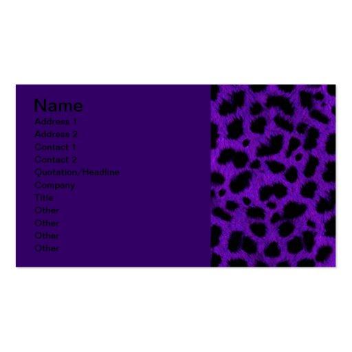 DEEP ROYAL PURPLE BLACK ANIMAL PRINT PATTERN DIGIT BUSINESS CARD TEMPLATE