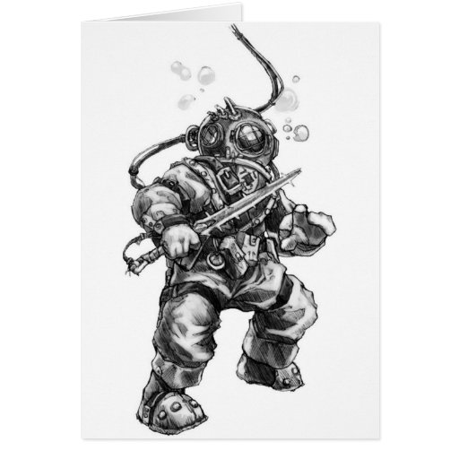 Deep Sea Diver Greeting Cards