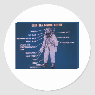 Deep Sea Diving Outfit Round Stickers