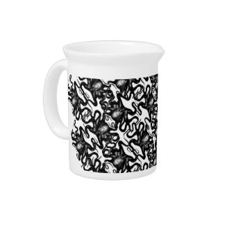 Deep Sea Octopus Black on White Illusion Effect Beverage Pitcher