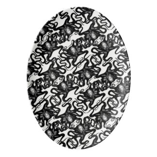 Deep Sea Octopus Black on White Illusion Effect Porcelain Serving Platter