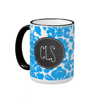 Deep Sky Blue Damask; Retro Chalkboard Ringer Mug
