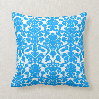 Deep Sky Blue Damask Throw Pillow