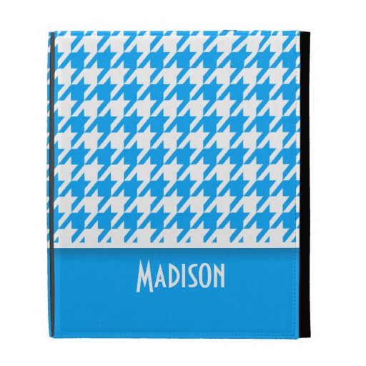 Deep Sky Blue Houndstooth; Personalized iPad Folio Cases