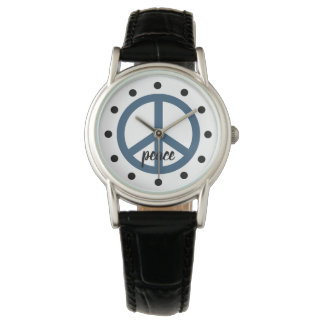 Deep Sky Blue Peace Symbol Personalized Watch