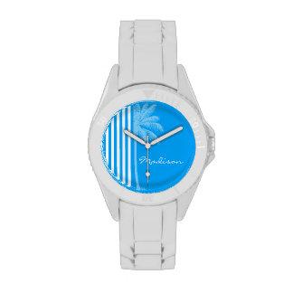 Deep Sky Blue Vertical Stripes; Tropical Palm Tree Wristwatches