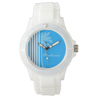 Deep Sky Blue Vertical Stripes; Tropical Palm Tree Wrist Watches