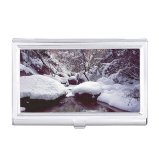 Deep snow at Middle Emerald Pools Business Card Cases
