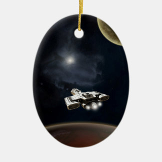 Deep Space - Science Fiction Battle Cruiser Ceramic Oval Decoration
