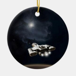 Deep Space - Science Fiction Battle Cruiser Round Ceramic Decoration