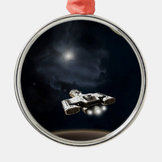 Deep Space - Science Fiction Battle Cruiser Silver-Colored Round Decoration
