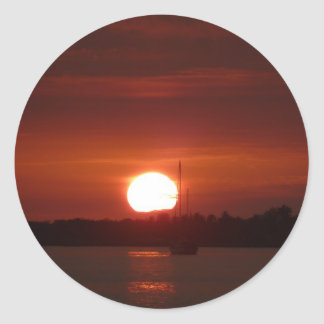 Deep sun set classic round sticker