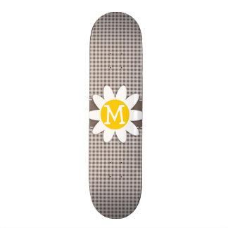 Deep Taupe Gingham Daisy Custom Skateboard
