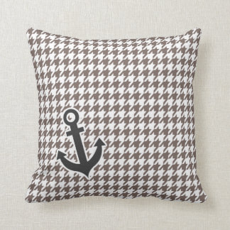 Deep Taupe Houndstooth; Anchor Cushion