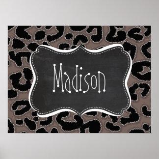 Deep Taupe Leopard Animal Print; Chalkboard