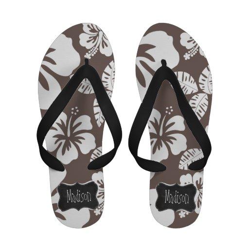 Deep Taupe Tropical Hibiscus; Retro Chalkboard Flip-Flops