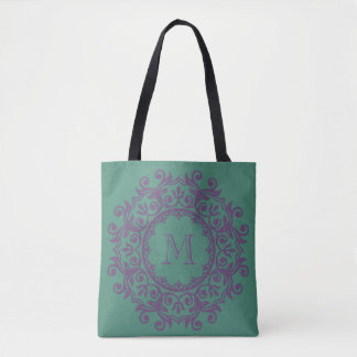 Deep Teal and Perfect Plum Scroll Wreath Monogram Tote Bag