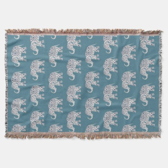 Deep Teal Elephant Throw