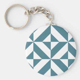 Deep Teal Green Geometric Deco Cube Pattern Key Chain