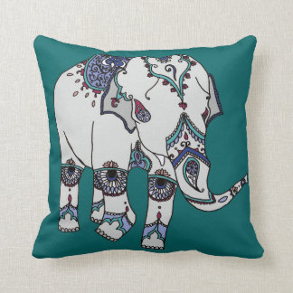 Deep Turquoise Embellished Elephant Cushion
