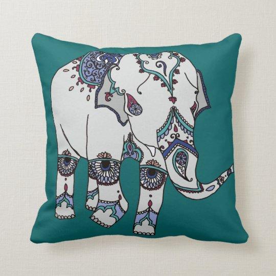 Deep Turquoise Embellished Elephant Cushion