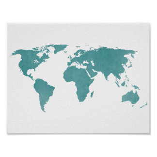 Deep Turquoise Rustic World Map Poster