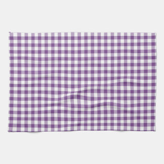 Deep Violet Purple and White Gingham Pattern Tea Towel