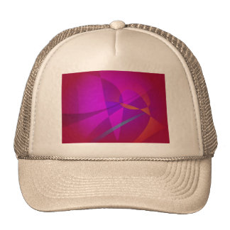 Deep Wine Red Abstract Design Mesh Hats