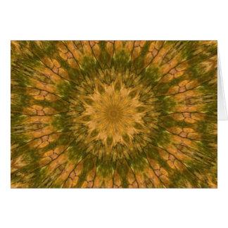 Deep Woods Camo Gold and Green Kaleidoscope Greeting Card