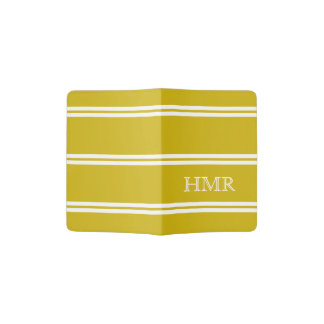 Deep Yellow and White Stripe Monogram Passport Holder