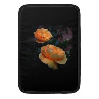 Deep Yellow - Orange Roses, on Black. MacBook Sleeves